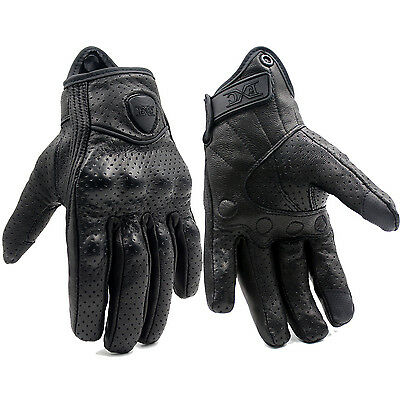 Touch Screen Motorcycle Leather Gloves Riding Racing Bike Protective Armor Short