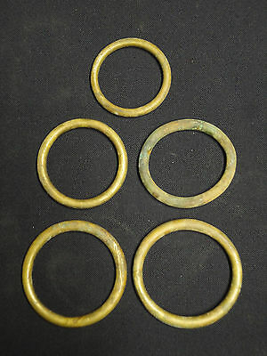 Vintage Lot of 5 Larger Size Brass Rings With Nice Patina