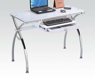 Acme Furniture 92062 Retro Computer Desk W White Tempered Gl