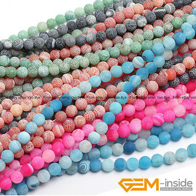 Assorted Black Pink Green Blue Frost Matte Agate Round Beads 6mm 8mm 10mm 12mm