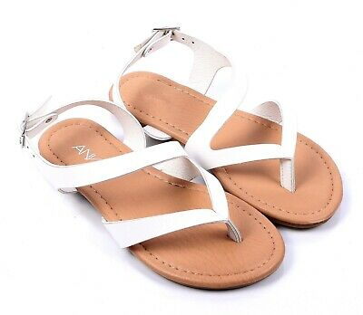 ab309e739 White Summer New Cute Slip-On Kids Flats Girls Youth Sandals Shoes Size 9-
