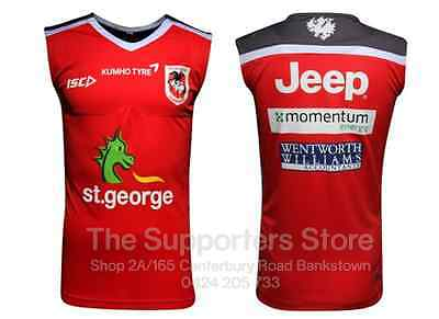 St George Illawarra Dragons NRL 2016 ISC Players Red Training Singlet Size S-3XL