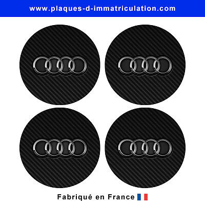 sticker AUDI aspect carbone pour cache moyeu de jante (lot de 4)