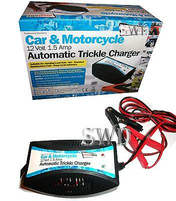 Car & Motorcycle 12v Automatic Trickle Charger (Lead Acid, Gel) Lawnmower NEW