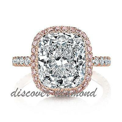 14k Solid Rose Gold 1.36 Ct Cushion Cut Diamond Engagement Halo Ring Certified