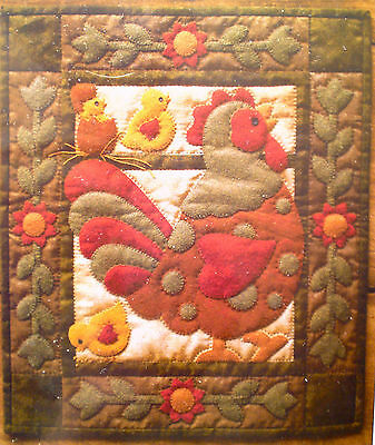 Patchwork  wall quilt appliqe Spotty Rooster Kit by Rachel's of Greenfield's