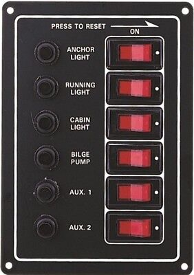 Marine 6 Gang Ip65 Circuit Breakers Switch Panel 12V  Boat Yacht Rv Motorhome