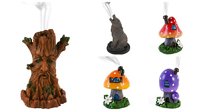 Tree Man Howling Wolf toadstool Cone incense burner holder by Lisa Parker boxed