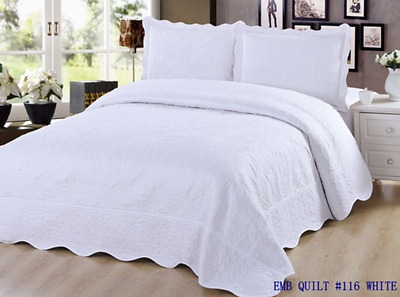 3 pc Embroidered Quilt Bedding / Bedspread / Pillow Sham Set, Queen Size