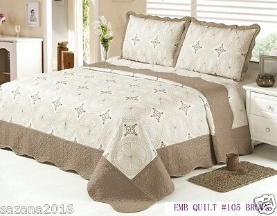 Quilt Queen Size 3 pc Bedding / Bedspread / embroidered Set