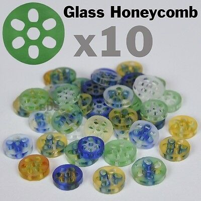 """10x Colored Glass Honeycomb Screens Pyrex Approx 3/8"""" 7-9mm x 2 mm New  Filter"""
