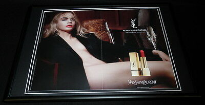 Cara Delevigne 2015 Yves St Laurent Framed 12x18 ORIGINAL Advertising Display