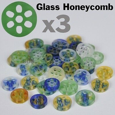 """3x Colored Glass Honeycomb Screens Pyrex Approx 3/8"""" 7-9mm x 2 mm New  Filter"""