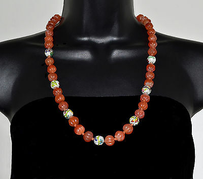"""Old CHINESE Export Antique CARNELIAN and Cloisonne 12mm Beads Necklace 25.5"""""""
