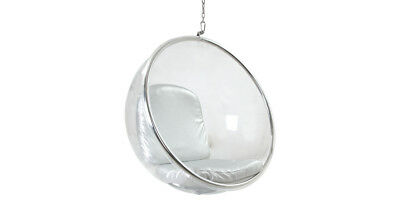HANGING BUBBLE CHAIR Transparent / Silver Cushion globe lounge retro classic