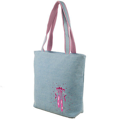 Girls Denim Tote Bag with Embroidered Ballet Shoe and Rhinestone