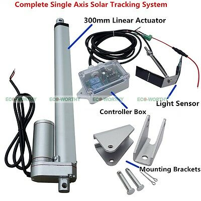 12''Linear Actuator&Controller W/Light Sensor 1KW Single Axis Solar Tracker Kit
