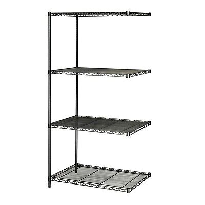 Industrial Wire Shelving, Add-On Unit, 24 x 36in, Black
