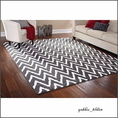 8 X 10 Teal Gray Off White Area Rug Contemporary Modern Unique