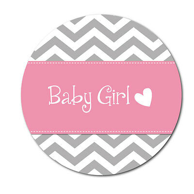 'Baby Girl' stickers - chevron design - crafts, cards, shops - 144 in pack -30mm