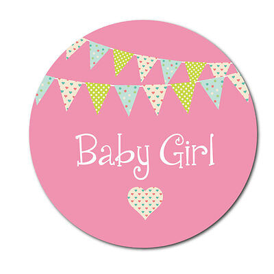 'Baby Girl' stickers - bunting design - crafts, cards, shops - 144 in pack