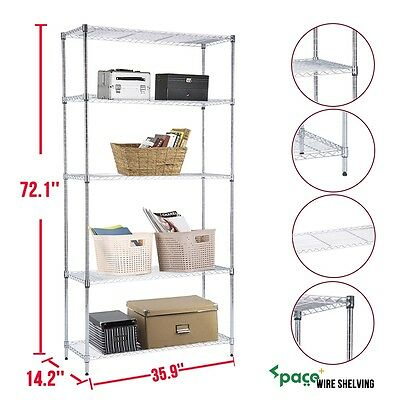 "72""x36""x14"" Wire Metal Shelving Rack 5 Tier Layer Shelf Adjustable Steel Chrome"