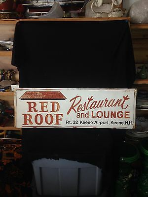 1970's Red Roof Restaurant & Lounge Sign Keene Nh