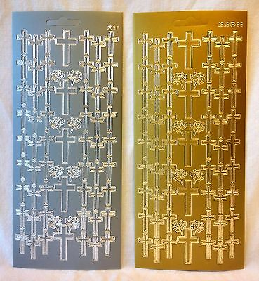 Peel Off Crosses Stickers - Easter - Wedding - Baptism - In Gold or Silver