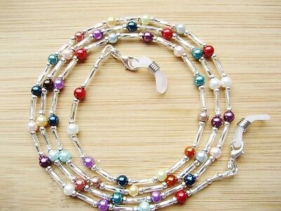 Spectacle Glasses Chain Handmade Small Mixed Colour Glass Pearl Silver Beaded UK