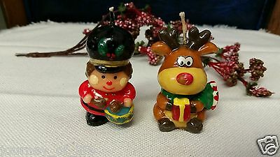 1950s Christmas Drummer Boy Soldier Reindeer Figurines Wax Candle GURLEY NOVELTY