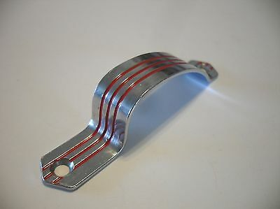 Vintage CHROME Cabinet Door Strap Pull Handle 3 RED Lines Grooves Art Deco