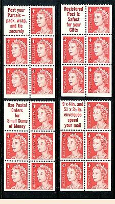 1966 QE2 4c Helecon PAPER booklet pane Superb MNH. Buy 1,2,3 or all 6.  $24 each