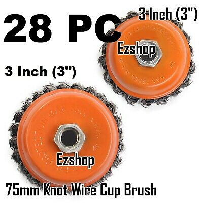 """28pcs alots - 3"""" Twist Cup Wire Brush 5/8"""" Twisted Wire Fits Most Angle grinders"""