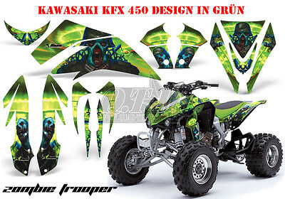 Amr Racing Dekor Graphic Kit Atv Kawasaki Kfx 450 & 700 Zombie Trooper B