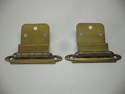 """Vintage Satin BRASS Plated Steel HINGES For 3/8"""" Inset Cabinet Doors Pre-owned"""