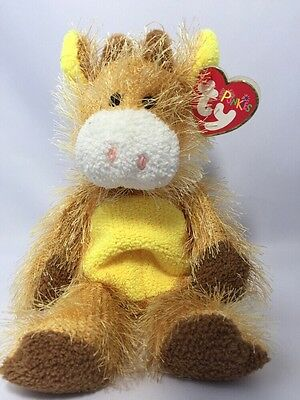"T-BONE TY Beanie Punkies Collection Plush Shaggy Tan 9"" Floppy BULL Cow Horns"