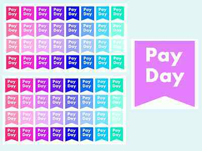 Pay Day Planner & Calender Stickers, 2 Sheets, 64 Stickers, Fits Any Planner