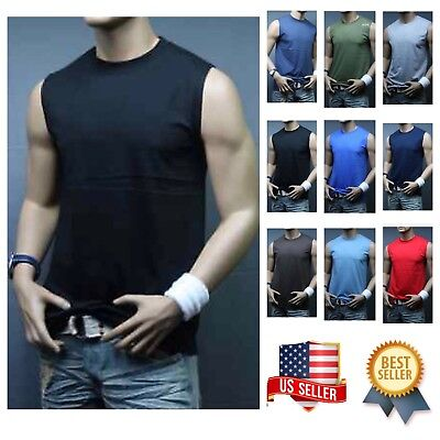Men T-Shirt Tank Top Muscle Tee Sleeveless T  Fitness Bodybuilding Gym  A