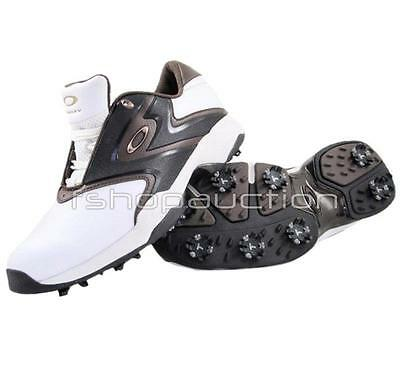Oakley Draw Tye White Brown Size 8.5 US Mens Cleats Golf Pro Shoes