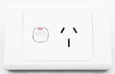 Single 15 Amp 15A Power Point Socket Outlet In White Gpo