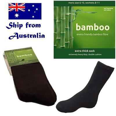 BAMBOO socks men mens women hiking work outdoor thick boot cushion black sz 6-14