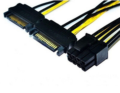 Dual Sata Male to 6 or 8 pin PCI-Express Graphics Card power adapter cable