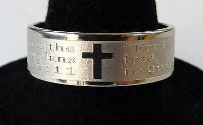 For I Know The Plans Jeremiah 29:11 Etched Stainless Steel Band Ring Men / Women