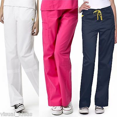 New Women's Wonderwink Mink Boot Cut Designer Cargo Pants Nursing Uniform 5103