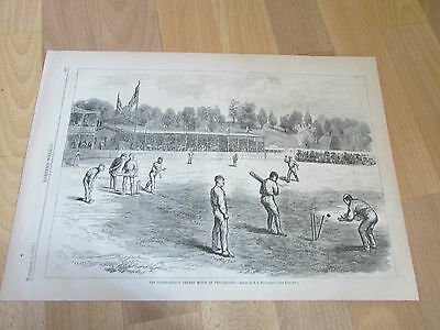 International CRICKET Match at PHILADELPHIA USA 1879 Original Print