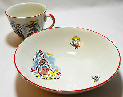 Huckleberry Hound Cereal Bowls And Cup Set- Ridgway Potteries Hanna Barbara