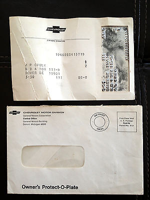 1968 Corvette Factory GM Original Owner Protection Plate w/ Mailing Envelope