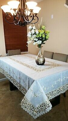 """Elegant linen Floral Cutwork 36x36"""" Quality Fabric Embroidery Tablecloth Round"""