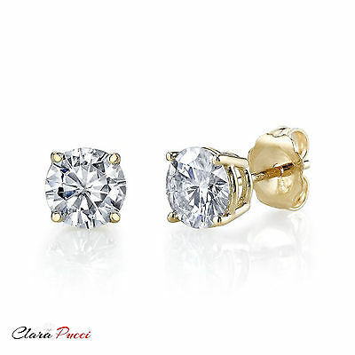 4 CT Round Cut AAAAA CZ Yellow Sterling Silver Solitaire Stud Earrings Push Back
