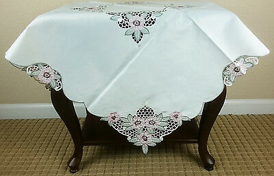 "Ivory Embroidery Tablecloth 36"" Square Coffee Side End Table Night Stand Cover"